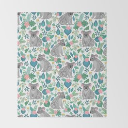 Cute gray koalas with ornaments, tropical flowers and leaves. Seamless tropical pattern. Throw Blanket