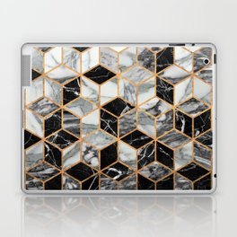 Marble Cubes - Black and White Laptop & iPad Skin