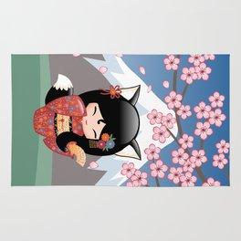 Japanese Kitsune Kokeshi Doll Rug