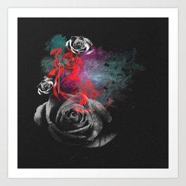 Grunge Roses Art Print