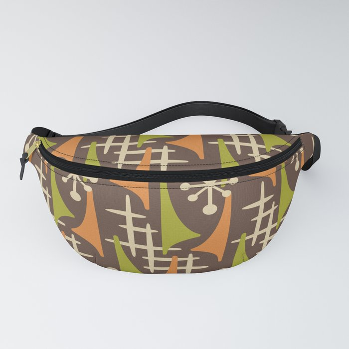 Mid Century Modern Atomic Wing Composition 235 Brown Orange and Charteuse Fanny Pack