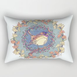 Small Bird With Wildflowers And Holly Wreath Rectangular Pillow