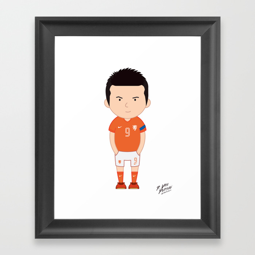 Robin Van Persie - Netherlands - World Cup 2014 Framed Art Print by Toonsoccer FRM9019159