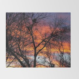 Winter Tree Sunset Throw Blanket