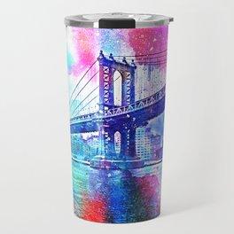 Colorful New York Pink Blue Photograph Travel Mug