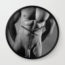 Photograph Erotic fetish style with Nude Male man wearing gasmask Wall Clock