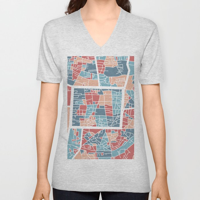Chiang Mai map Unisex V-Neck
