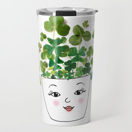Shamrock Face Vase Travel Mug