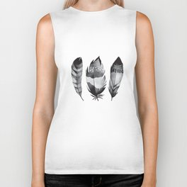Monochrome bohemian feather set black-white boho watercolor animal illustration boho home wall decor Biker Tank
