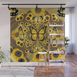 BLACK-GOLD MONARCHS SUNFLOWER ART Wall Mural