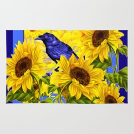 ARTISTIC BLUE CROW SUNFLOWERS CONCEPT Rug
