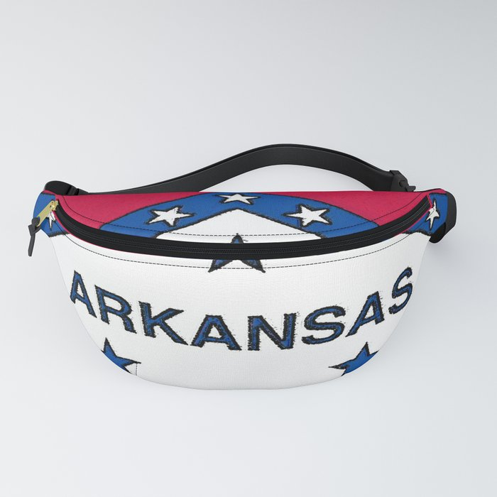 Arkansas Map with Arkansan Flag Fanny Pack