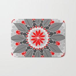 Red Petal Mandala Bath Mat