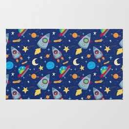 Fun Space Rockets and Aliens Rug