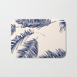 Blue Palm Leaves x Dry Brush Bath Mat