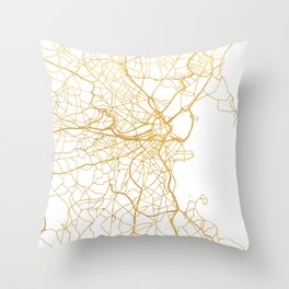 BOSTON MASSACHUSETTS CITY STREET MAP ART Throw Pillow