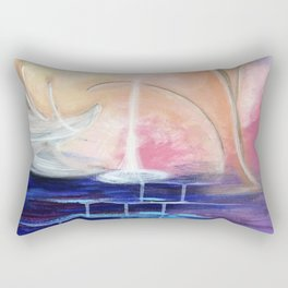 Flourescent Waterfall Painting. Waterfall, Abstract, Blue, Pink. Water. Jodilynpaintings. Rectangular Pillow