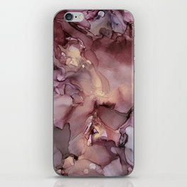 Ink Swirls Painting Lavender Plum Gold Flow iPhone Skin
