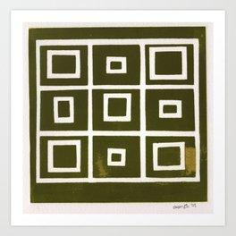 Hollywood Squares - Olive Art Print