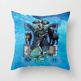 "Ars Tarot of the 12 Zodiac: ""Pisces - The Moon"" Throw Pillow"