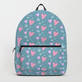 Abstract pink turquoise romantic hearts floral pattern Backpack