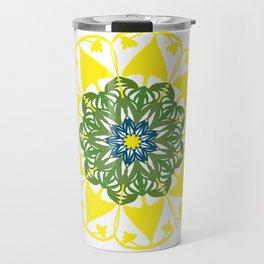 Yellow Green and Blue Mandala Flower Travel Mug