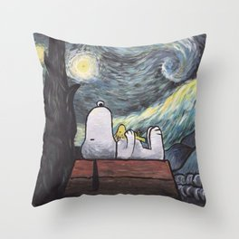 snoopy starry night Throw Pillow