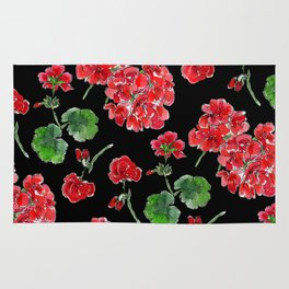 Red Geranium with black background Rug