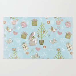 From Bunnies And Christmas - Cute teal X-Mas Pattern Rug