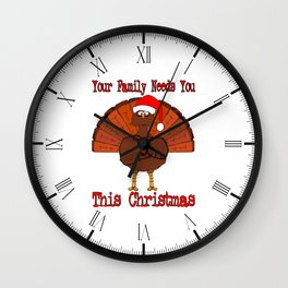 Christmas Turkey Message Wall Clock