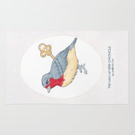 Haruki Murakami's The Wind-Up Bird Chronicle // Illustration of a Bird with a Wind-up Key in Pencil Rug