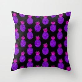 Purple Disco Pineapples Throw Pillow