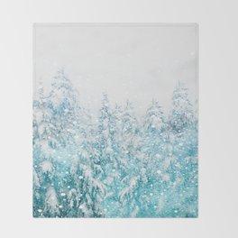 Snowy Pines Throw Blanket