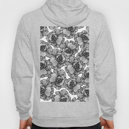 Elegant Black and White Modern Line Art Flowers Hoody