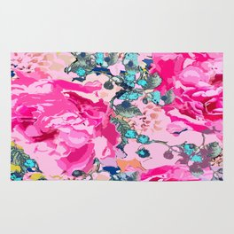 Pink floral work with some turquoise and yellow details Rug