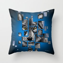 Deconstructed Wolf Throw Pillow