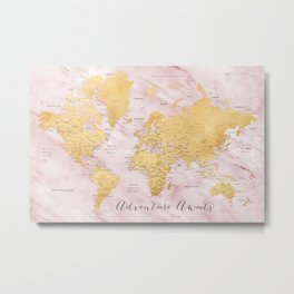 "Adventure awaits, gold and pink marble detailed world map, ""Sherry"" Metal Print"