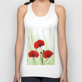 Poppies red 008 Unisex Tank Top