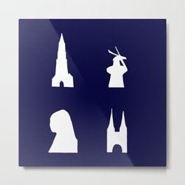 Delft silhouette on blue Metal Print