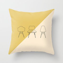 Eames Chairs // Mid Century Modern Minimalist Illustration Throw Pillow