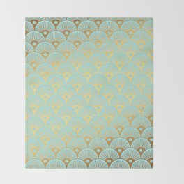 Art Deco Mermaid Scales Pattern on aqua turquoise with Gold foil effect Throw Blanket