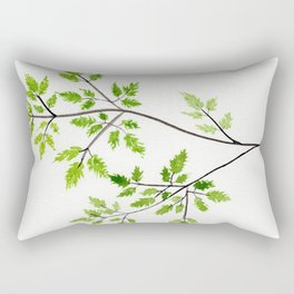 Chervil Watercolor Illustration - Herbs and Leaves Rectangular Pillow