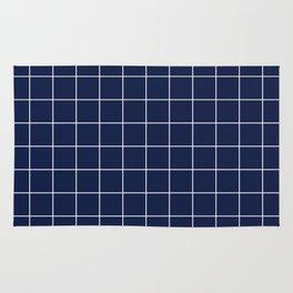 Indigo Navy Blue Grid Rug