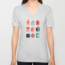 Flask Collection – Red & Turquoise Palette Unisex V-Neck