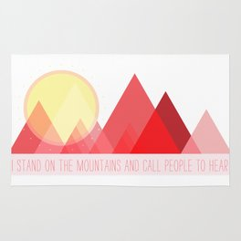 Geometric Color Block Mountains (Reds) Rug