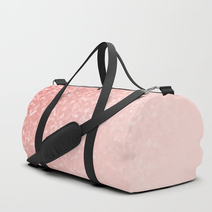 She Sparkles Deep Rose Gold Pastel Pink Luxe Geometric Duffle Bag