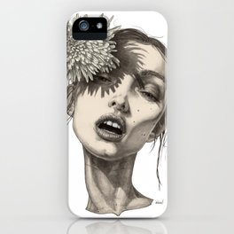 Katty and the big white flower iPhone Case