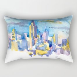 blue icing, print or original watercolor painting by Jessie Novik from rooftop view overlooking NYC Rectangular Pillow