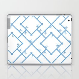 Bamboo Chinoiserie Lattice in White + Light Blue Laptop & iPad Skin