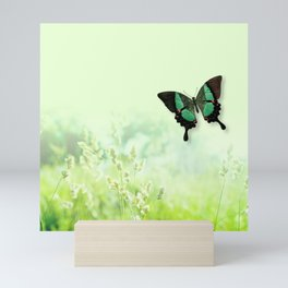 Green Butterfly, Wildflower Meadow, Summer Field Mini Art Print